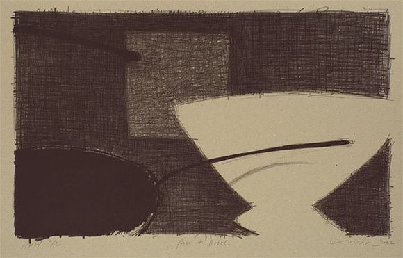 Artist: LINCOLN, Kevin | Title: Pan and bowl | Date: 2002, April | Technique: lithograph, printed in black ink, from one stone