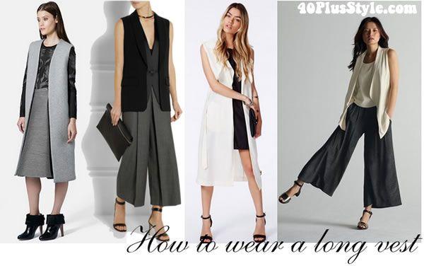 cómo se puede llevar el chaleco largo con faldas o pantalones anchos ... 2cfb977ecc58