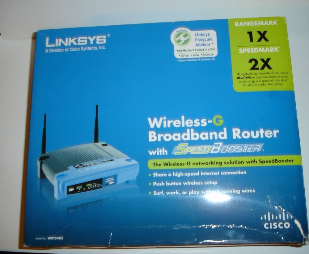 Linksys WRT54GS 54 Mbps 4-Port 10/100 Wireless G Router with SpeedBooster In Box #Linksys