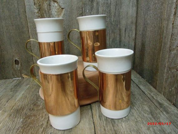Copper and Porcelain Coffee Mugs Vintage Rare