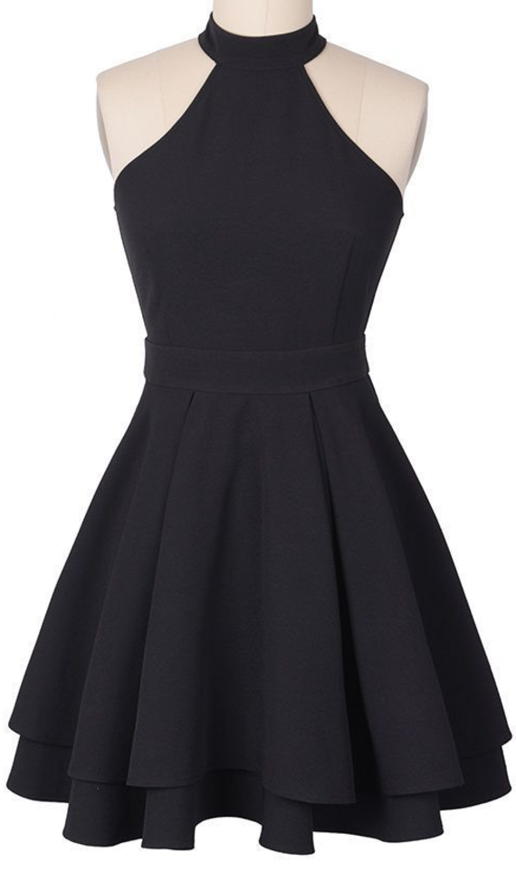 Charming Black Halter Homecoming Dresses,Sleeveless Mini Prom Homecoming Dress