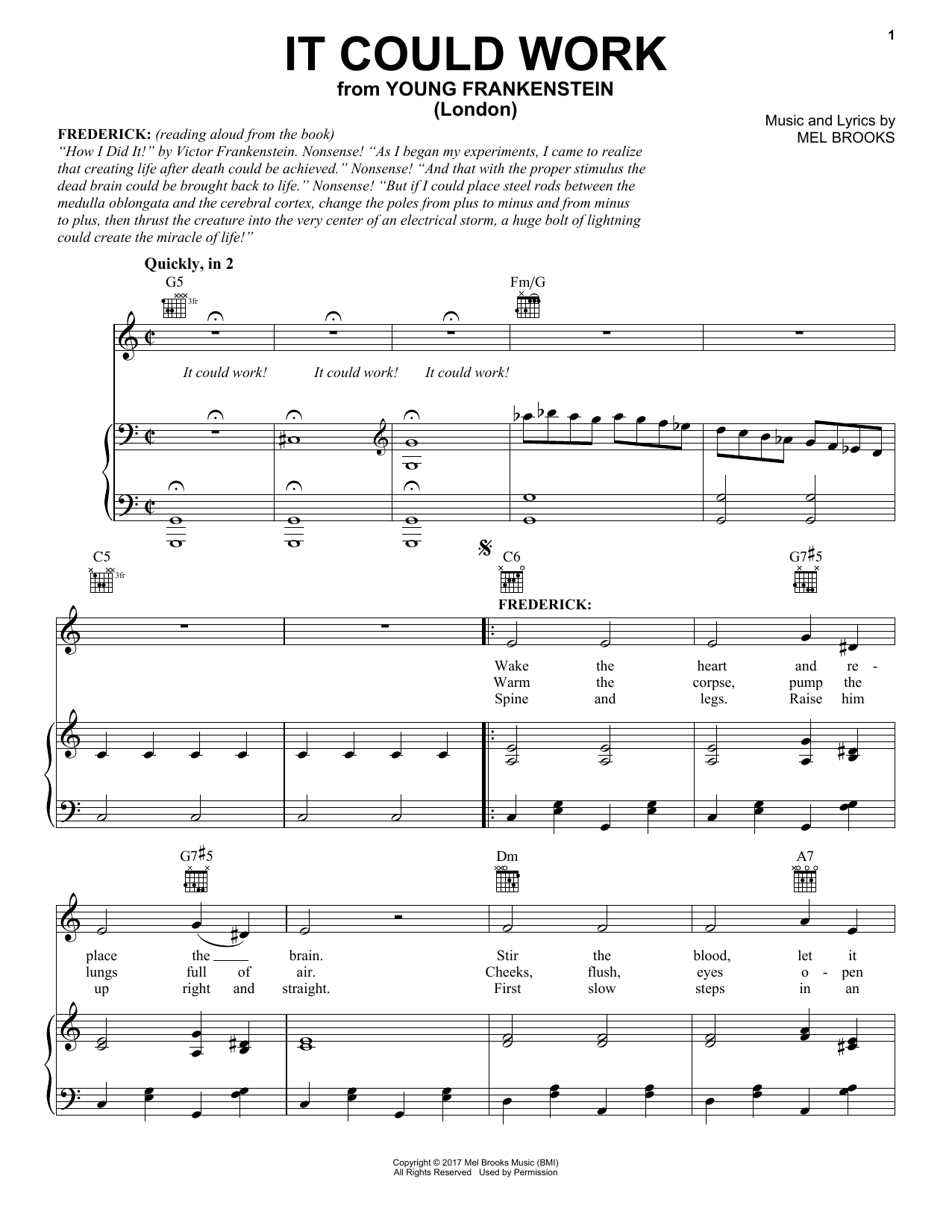 Mel Brooks It Could Work From Young Frankenstein Music Notes In 2021 Sheet Music Notes Sheet Music Young Frankenstein