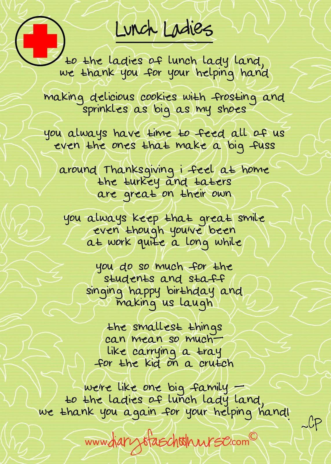 Lunch Ladies Free Printable Poem | Diary Of A School Nurse ...