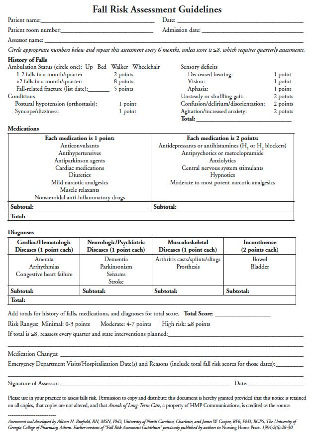 fall risk assessment guidelines Fall risk, Home health