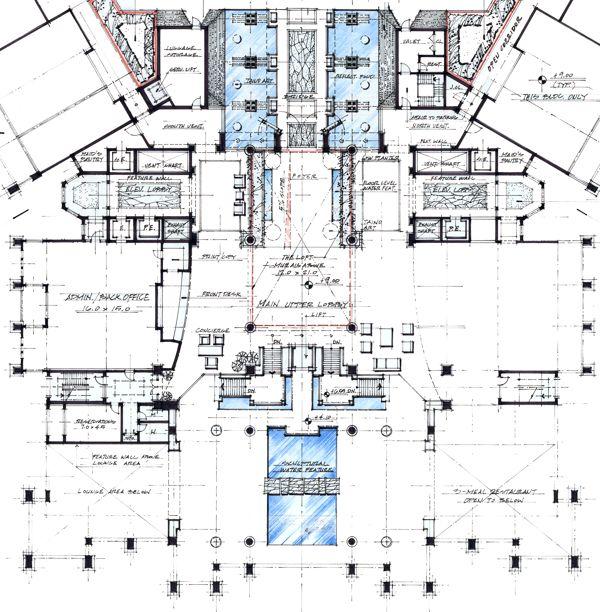 Work at WATG, Trump at Cap Cana, Hotel Lobby Plan by MFLART, via Behance