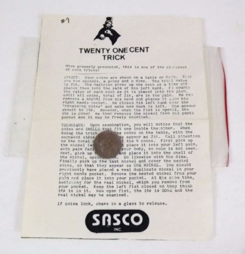 Vintage Sasco Twenty One Cent Trick - LN - Purchased and Stored
