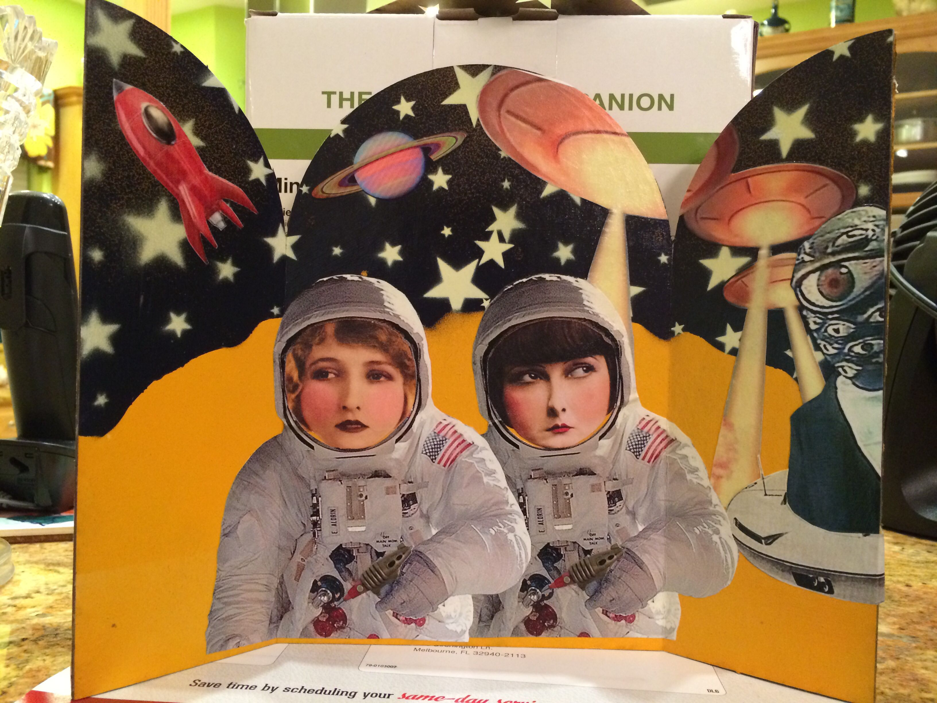 "Mixed media collage triptych ""Betty & Jane's misadventures in outer space"""