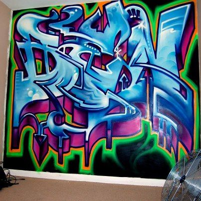 Boys graffiti bedroom mural glasgow by for Mural habitacion juvenil