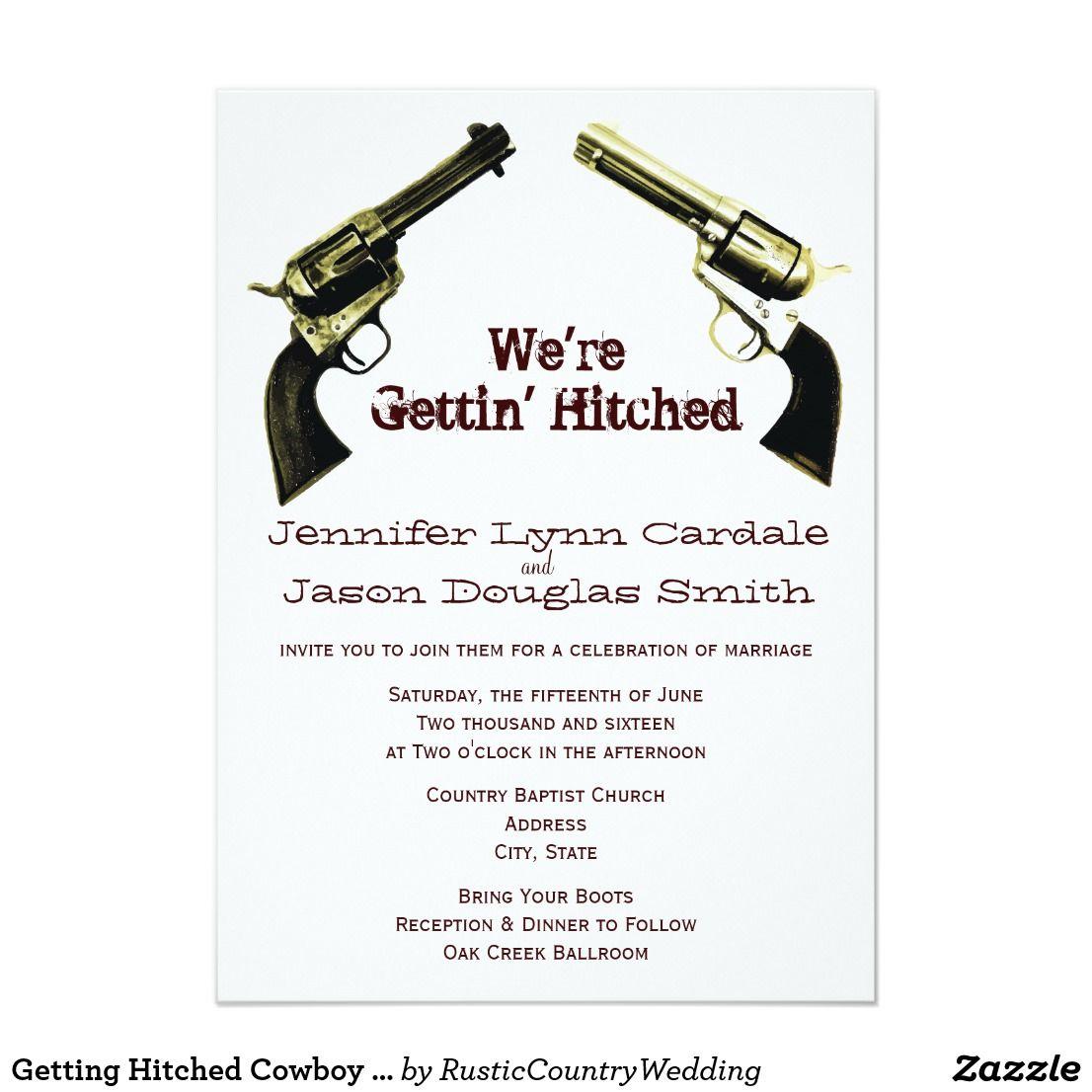 Getting Hitched Cowboy Guns Wedding Invitations