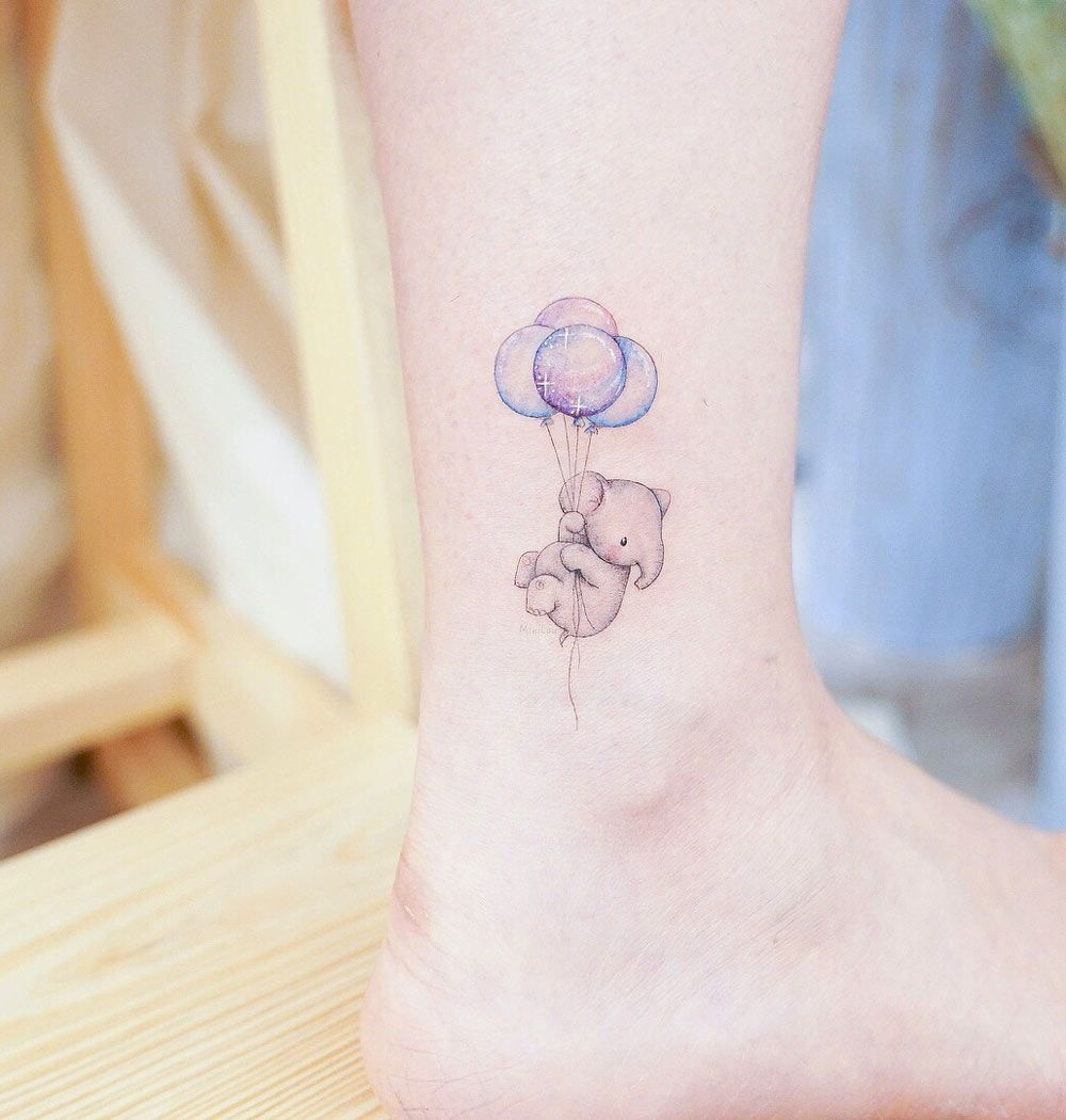 Baby Elephant Holding Balloons Animal Tattoos For Women Tiny Tattoos Tiny Elephant Tattoo