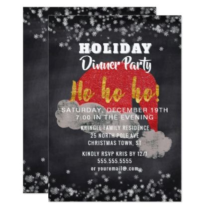 Snowflakes santa holiday dinner party invitation invitations snowflakes santa holiday dinner party invitation invitations custom unique diy personalize occasions stopboris Image collections