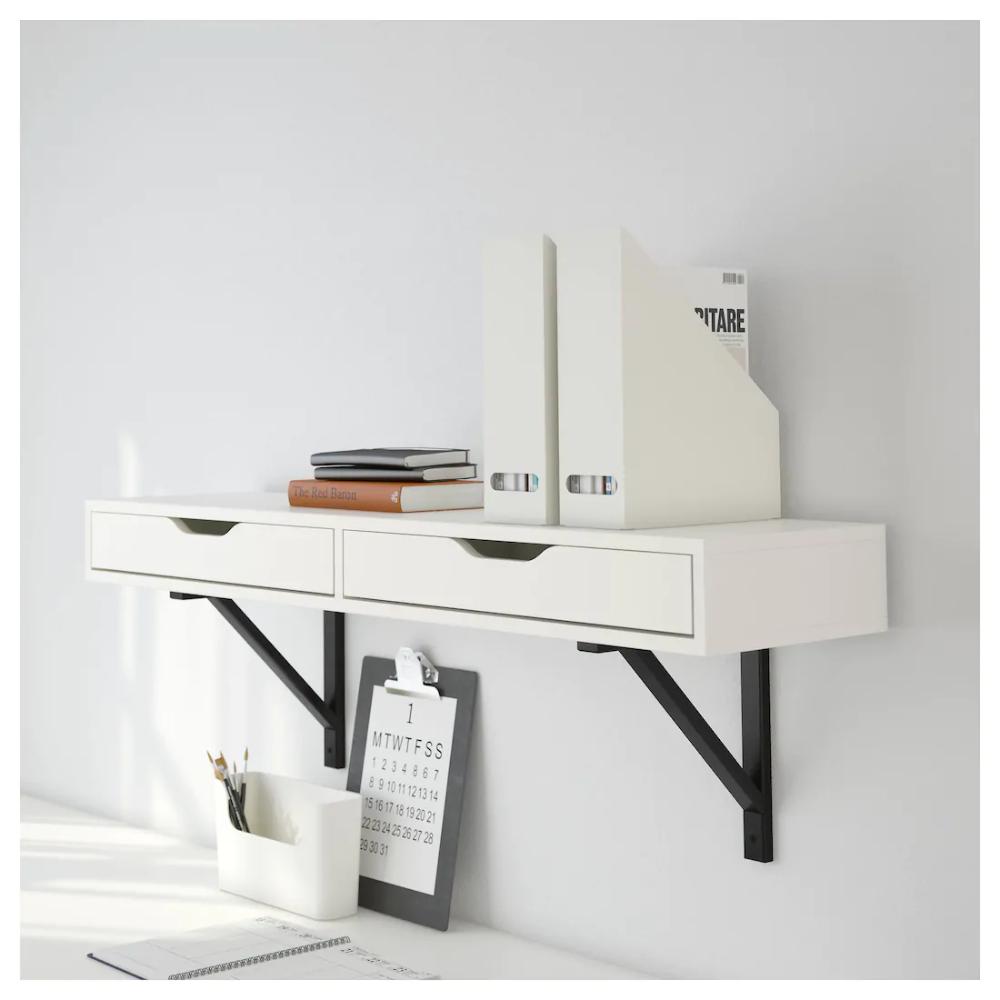 EKBY ALEX Shelf with drawers white 46 7/8x11 3/8