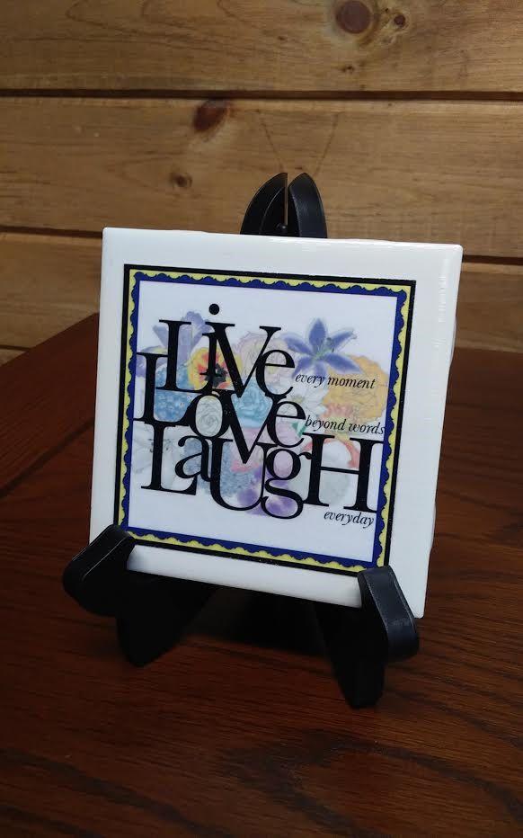 Decorative 4X4 Ceramic Tiles Interesting Home Decor Inspirational Ceramic Tile Live Love Laugh 1 4 X 4 Design Inspiration