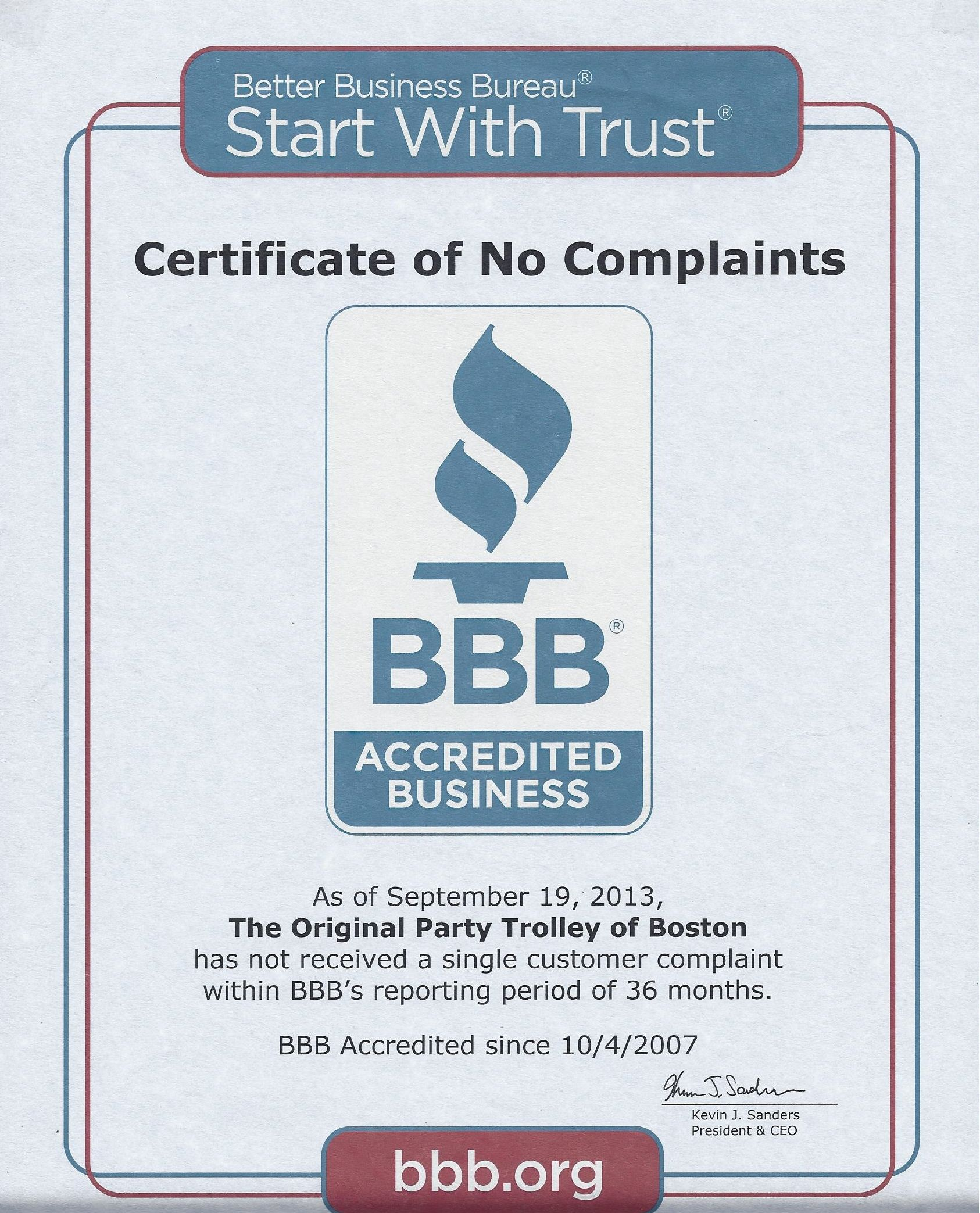 2013 Bbb Certificate Of No Complaints Hard Earned Certificate Of Achievement Customer Complaints Better Business Bureau