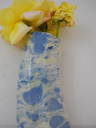 Ceramic Wall Pocket with cobalt marbled painting