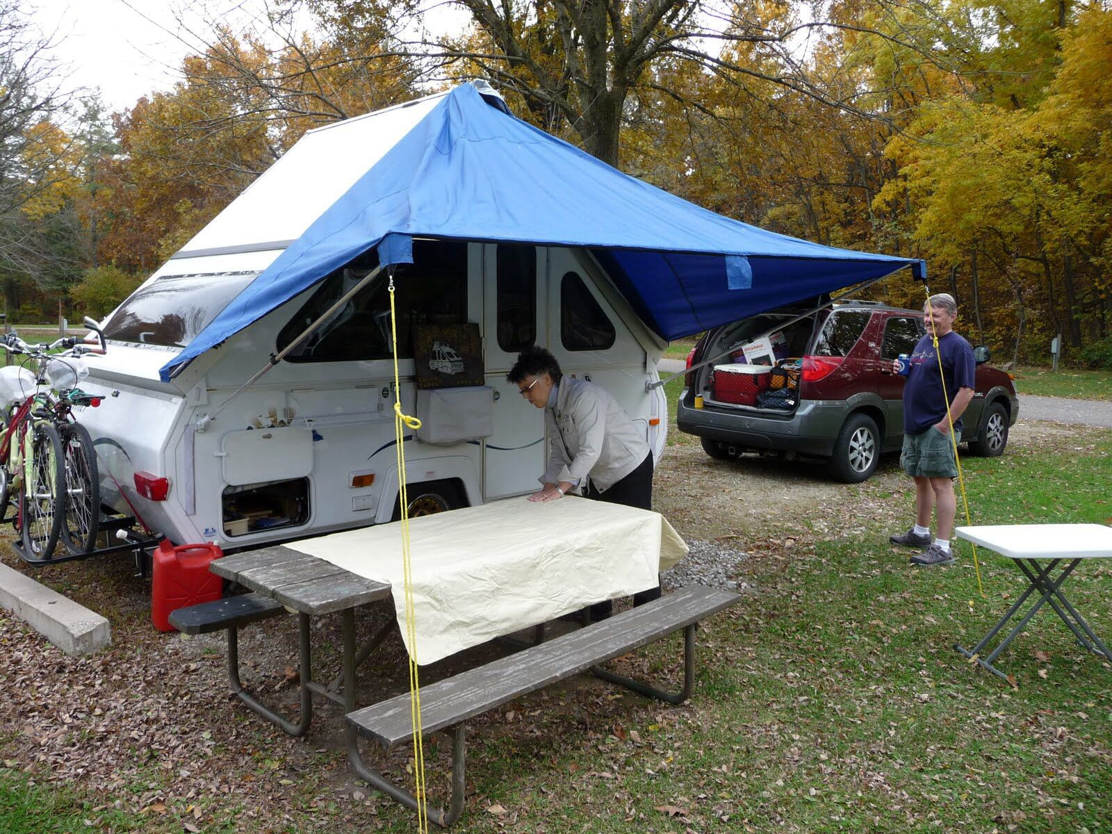 Quick setup rear awning for shaded seating and outside kitchen modified coleman awning from fabric sided pop up type camper s