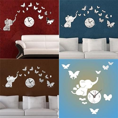 Photo of Home Bedroom Decoration DIY Elephant Butterfly Acrylic 3D Mirror Wall Clock Wall Sticker – as the picture ak