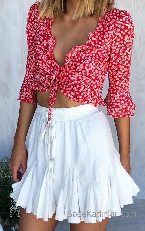 2019 Bayan Yazlık Kıyafetler ve Günlük Kombinler Beyaz Kısa Fırfırlı Etek Kırmızı Dekolteli Yetim Kol Kısa Bağcıklı Gömlek