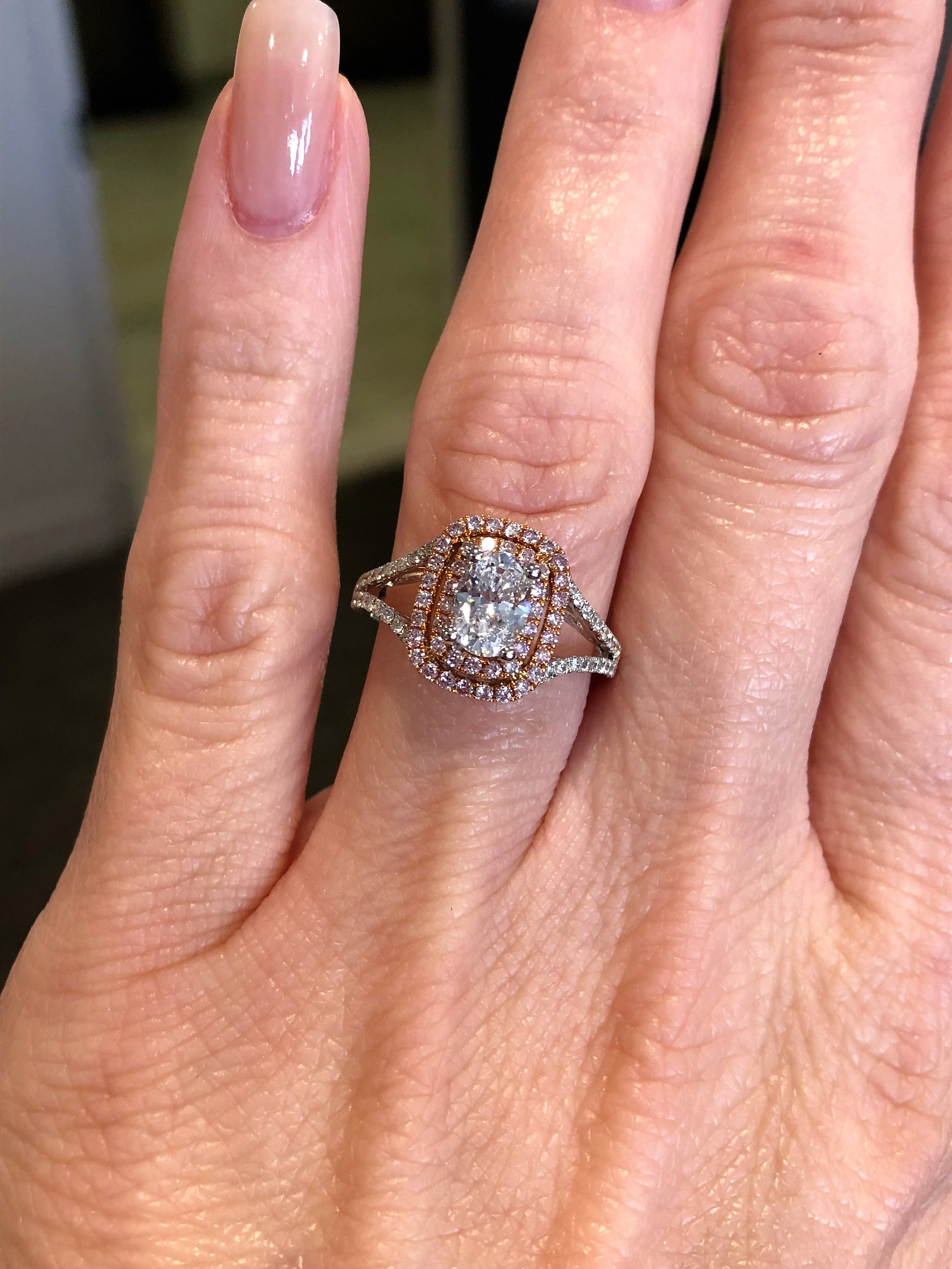 105dadc83264 Rose gold pink diamond cushion halo with oval center.