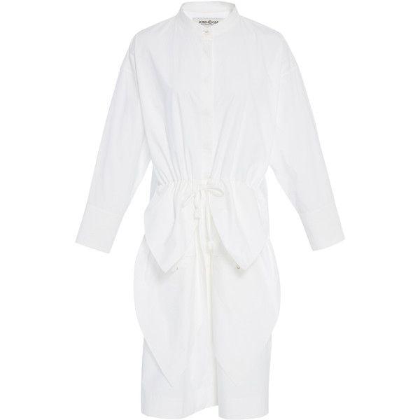 Kimhēkim     Long Sleeve Poplin Shirt Dress (2.215 RON) ❤ liked on Polyvore featuring dresses