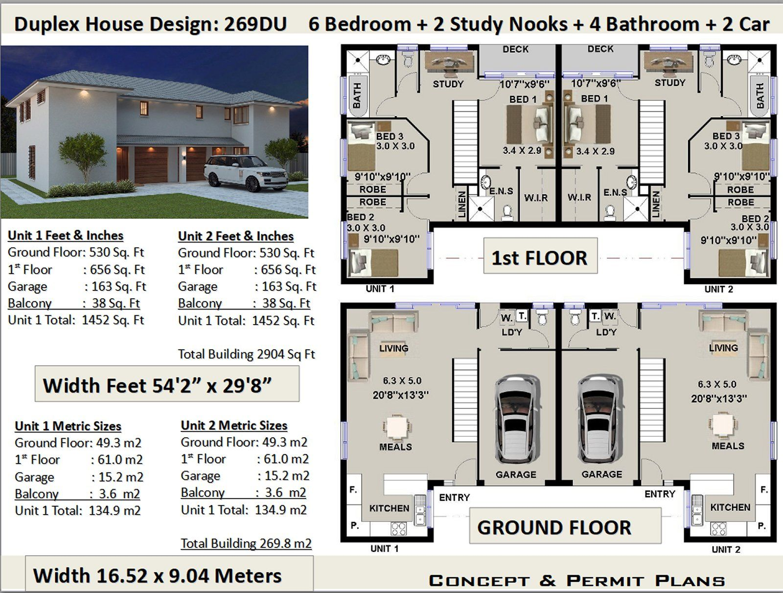 6 Bedroom Duplex Townhouse House Plans House Design 269du Duplex House Plans Duplex House House Plans For Sale