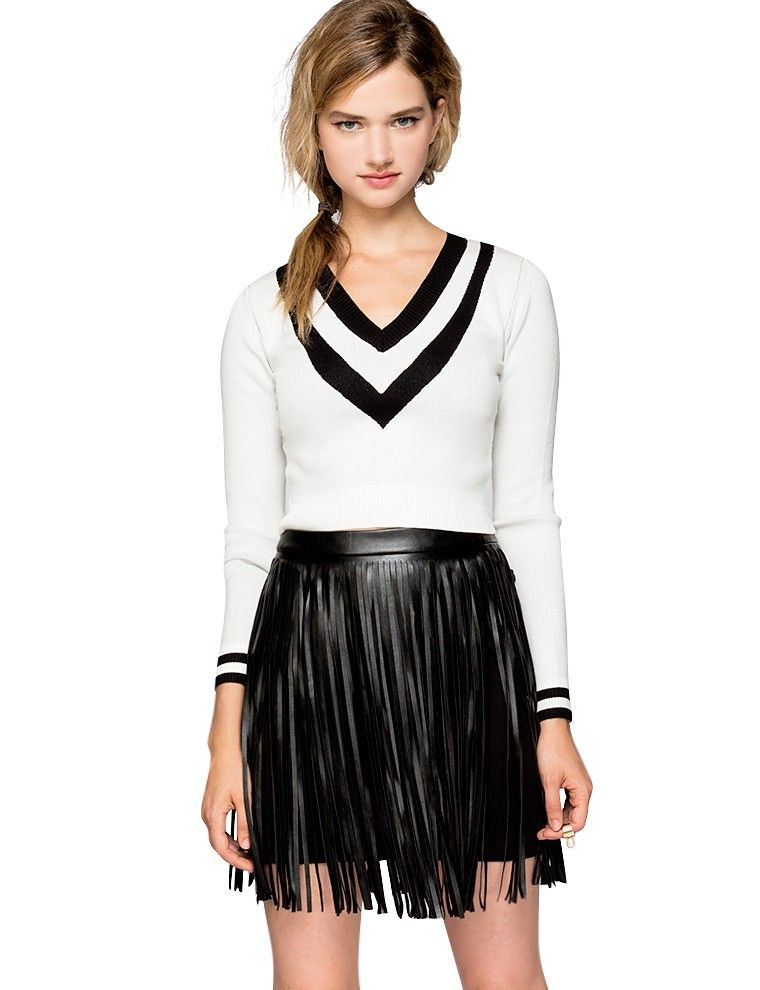 Leather Fringe Mini Skirt - Dress Ala