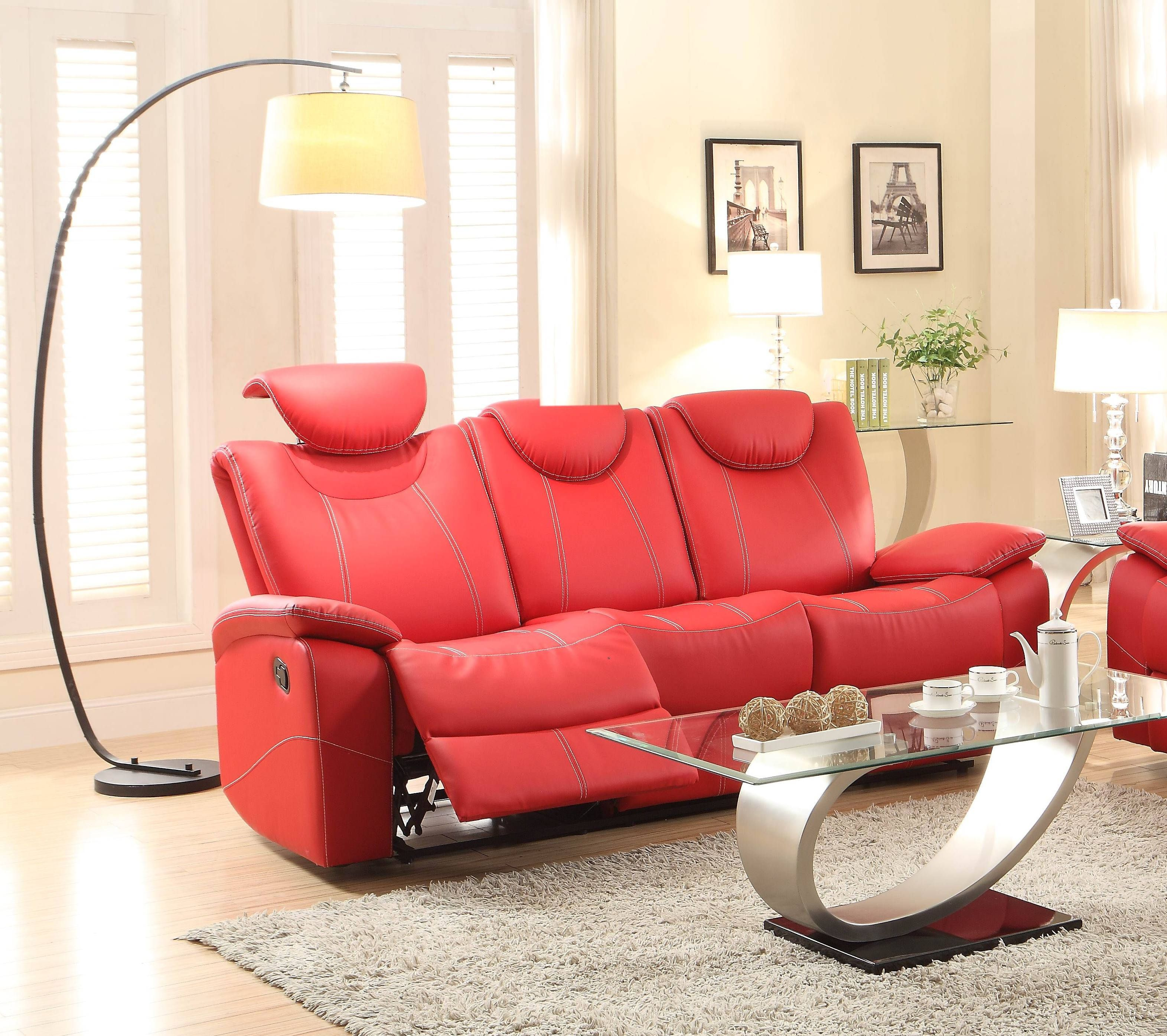 Sleeper Sofas Talbot Contemporary Red Bonded Leather Double Reclining Sofa