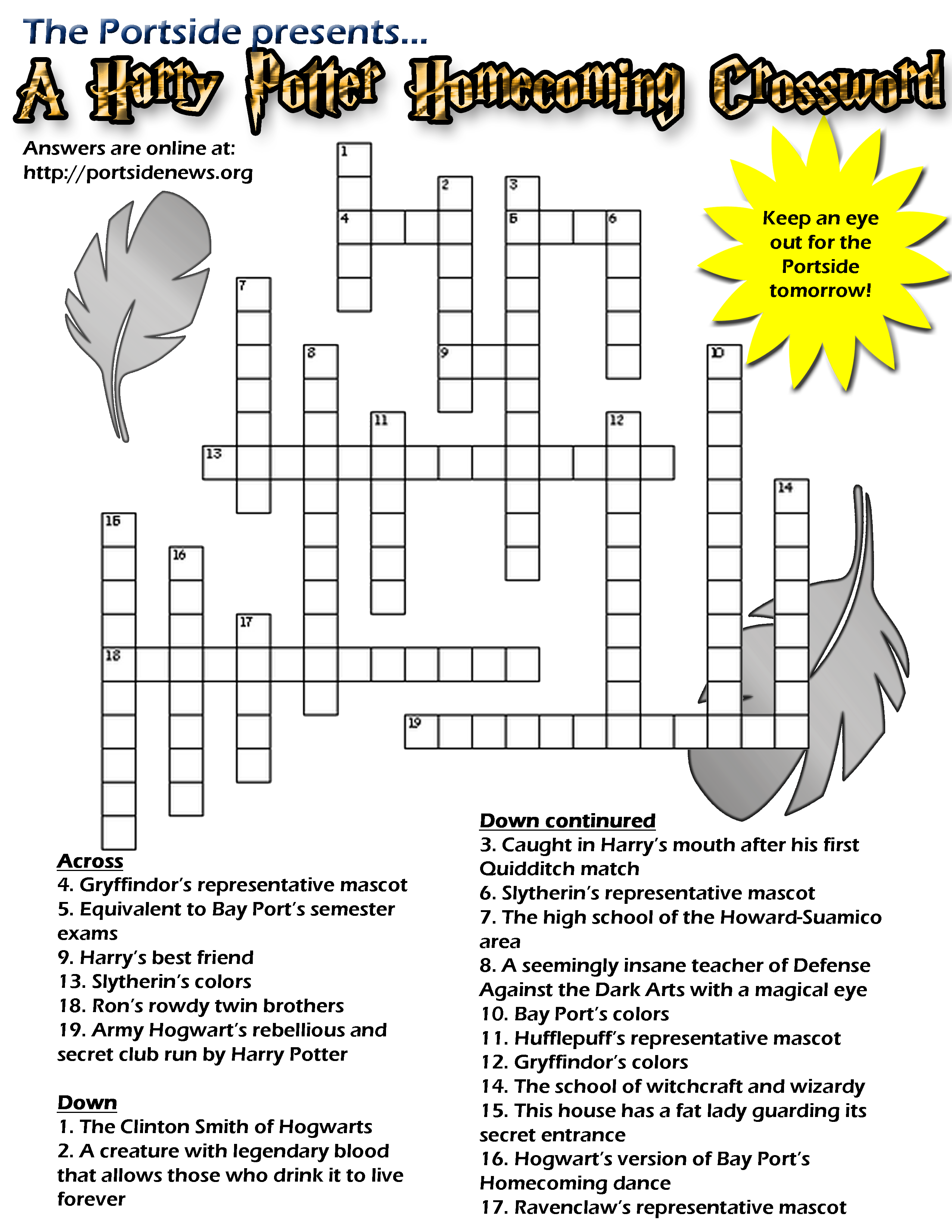 Harry Potter Printable Crossword Puzzle