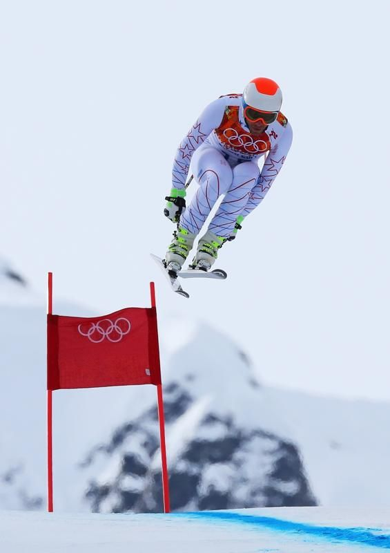 Bode Miller of the United States skis during the Alpine Skiing Men's Downhill at Rosa Khutor Alpine Center on February 9, 2014 in Sochi, Rus...