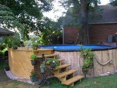 after swimming pool diy make over cover up of above ground pool - Above Ground Pool Steps Diy