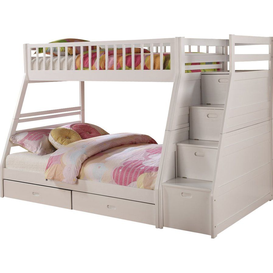 Low loft bed with stairs and storage  Pierre Twin over Full Bunk Bed with Storage  decor  Pinterest
