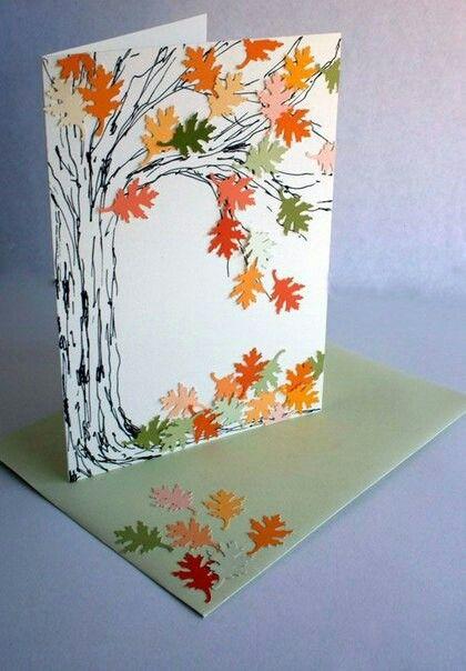 Открытка из бумаги осень, днем рождения