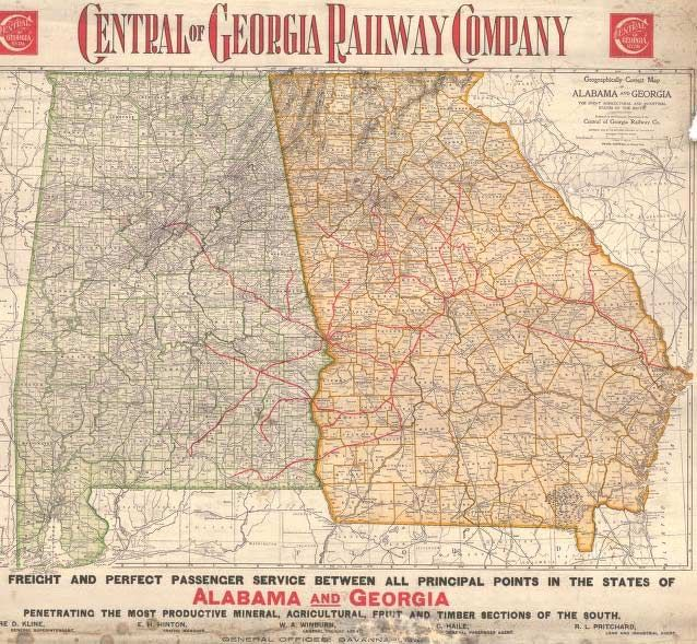 Railroad Map Of Georgia.1899 Central Of Georgia Railway Map Home Acessories In 2019
