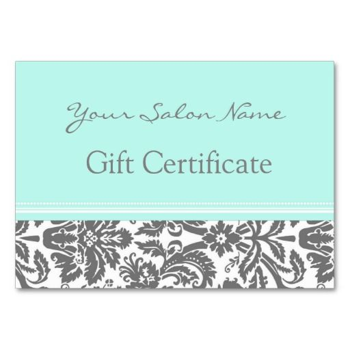 make your own gift certificate template - salon gift certificate aqua grey damask