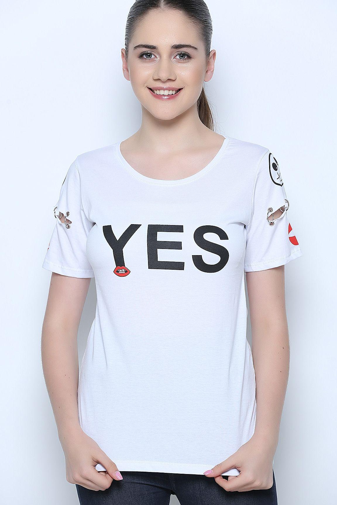 Beyaz T Shirt Kadin Tisort V Yaka