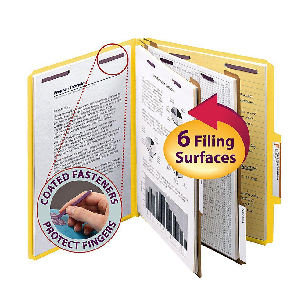 Smead® Pressboard Classification Folders, 2 Dividers