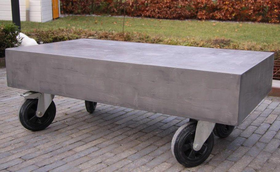 Industriele Tafel Op Wielen.Salontafel Beton Cire Wielen Industrieel Huiskamer Salontafel