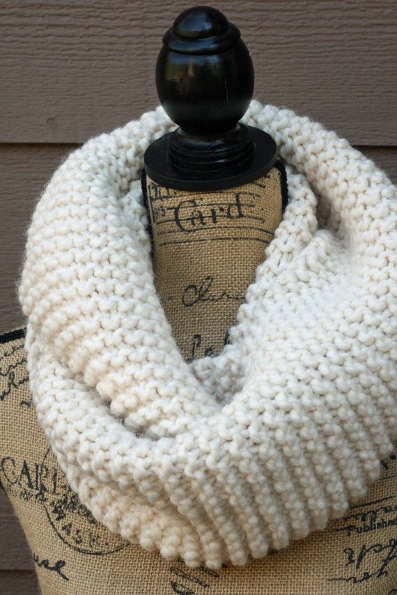 Knitted Cowl Chunky Infinity Scarf Circle Scarf Cream Knitting