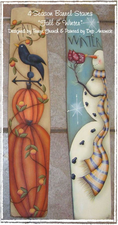 4 Season Barrel Staves, Fall and Winter by Deb Ant