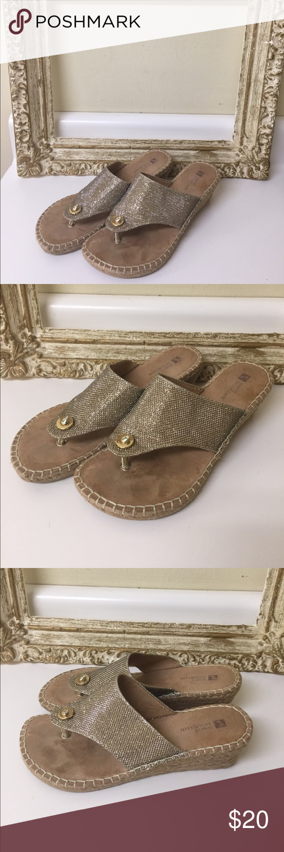 240cfe0edcfd0a White mountain glitter sandal. Size 7. 1 2 Great condition glitter white  mountain sandal. Size 7 1 2 White Mountain Shoes Sandals