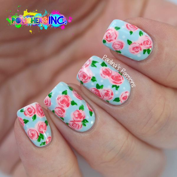 Polishers Inc. Recreate a Pattern – Pretty Rose Nail Art - Polishers Inc. Recreate A Pattern - Pretty Rose Nail Art Rose Nail