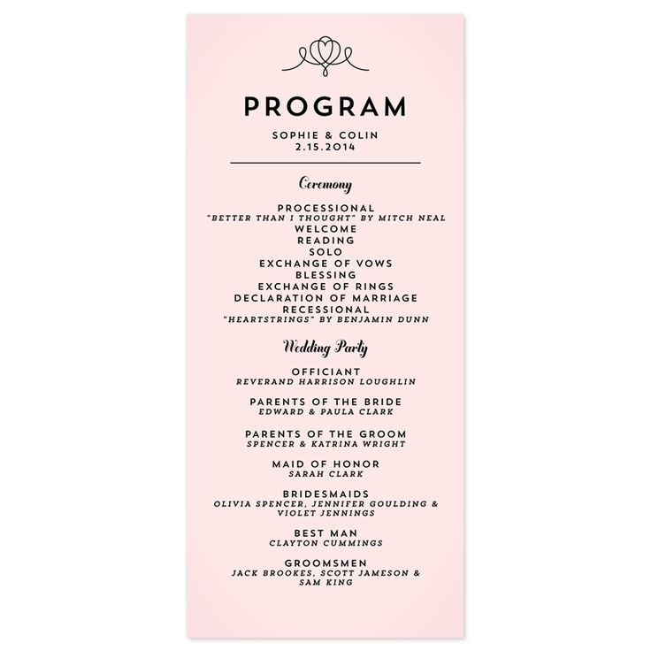 Free Examples Of Wording For Wedding Programs