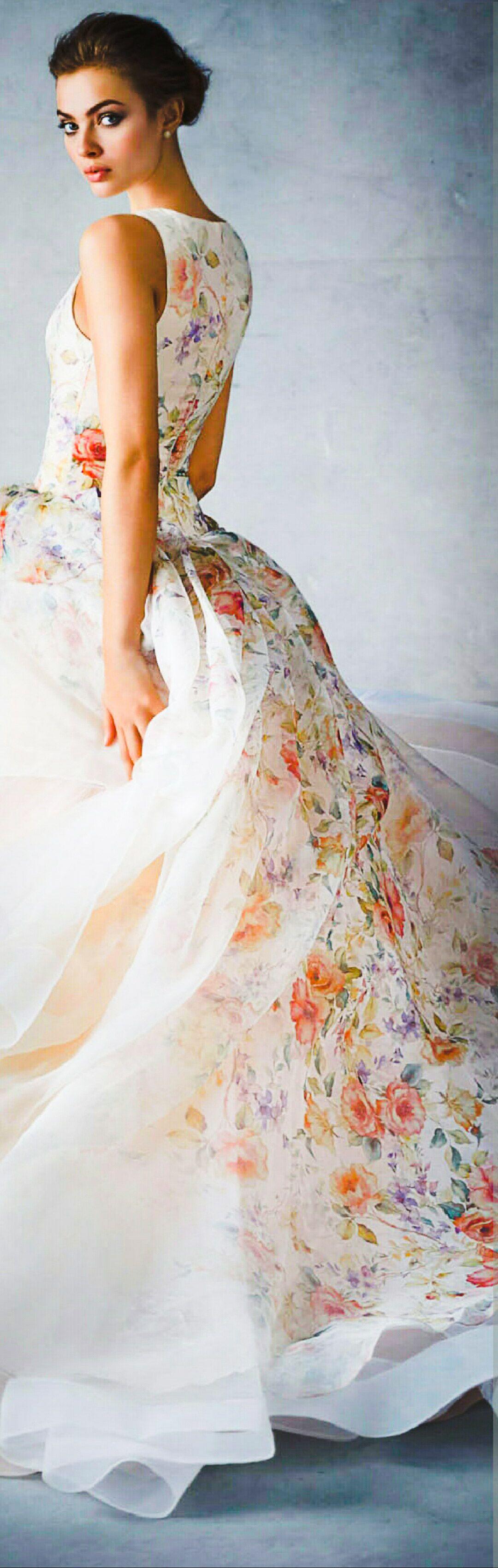 Floral print wedding dresses  Nimrodt Wolfenstein lazaro   Simple flora  Pinterest  Gowns