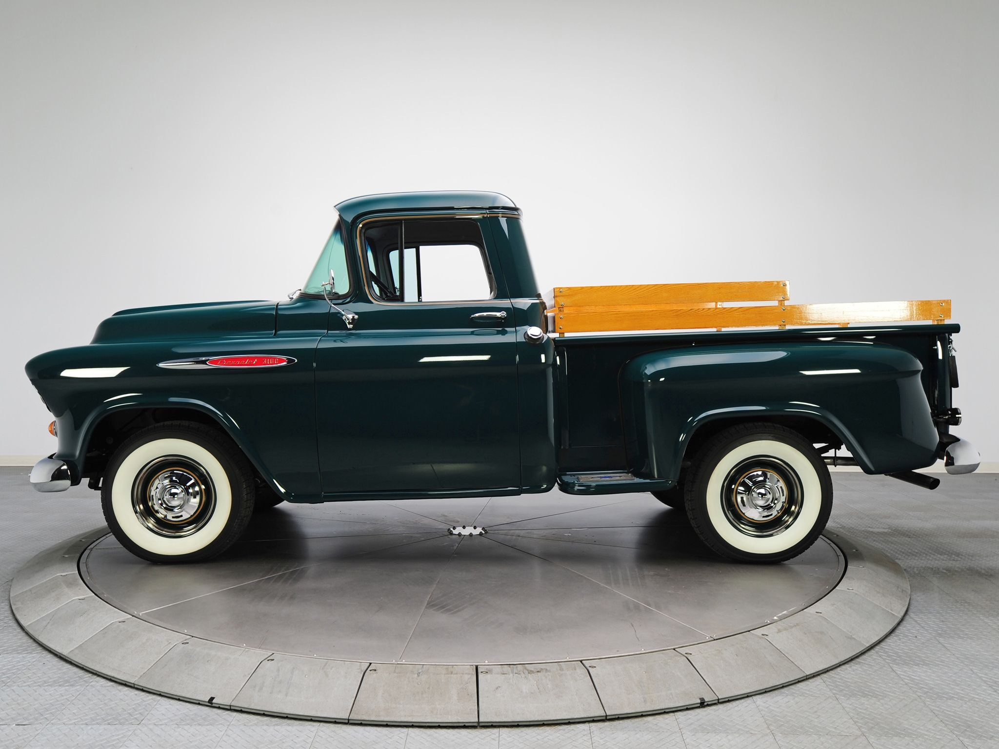 1957 Chevrolet 3100 Stepside Pickup Forest Green Chevy Pick Up Truck With White Wall Tires Trucks Chevy Trucks Classic Cars Trucks