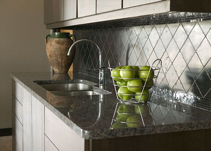 I M Normally Not A Fan Of Diagonal Tile For A Backsplash But This Dark Slate Tile And Polished Mosaic Together Is P Countertops Artisan Kitchen Kitchen Redo