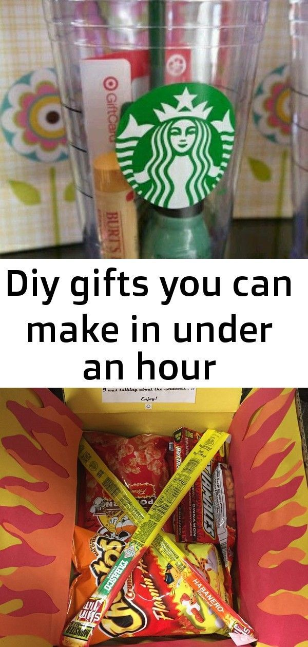 Diy gifts you can make in under an hour Diy gifts you can make in under an hour perfect gift a coffee cup for Starbucks a gift card to one of her favorite stores her favo...