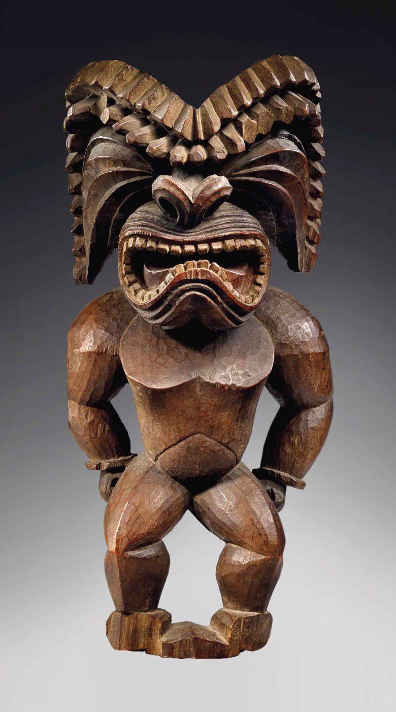 Hawaiian War God Ku Ka'ili Moku | Polynesian art, Tiki statues,  Ethnographic art