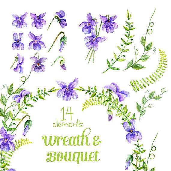 Viola Fleurs Couronne Et Bouquet Clipart Par Reachdreams Sur Etsy