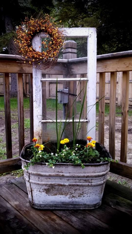 old window put in old wash tub and used as a flower pot