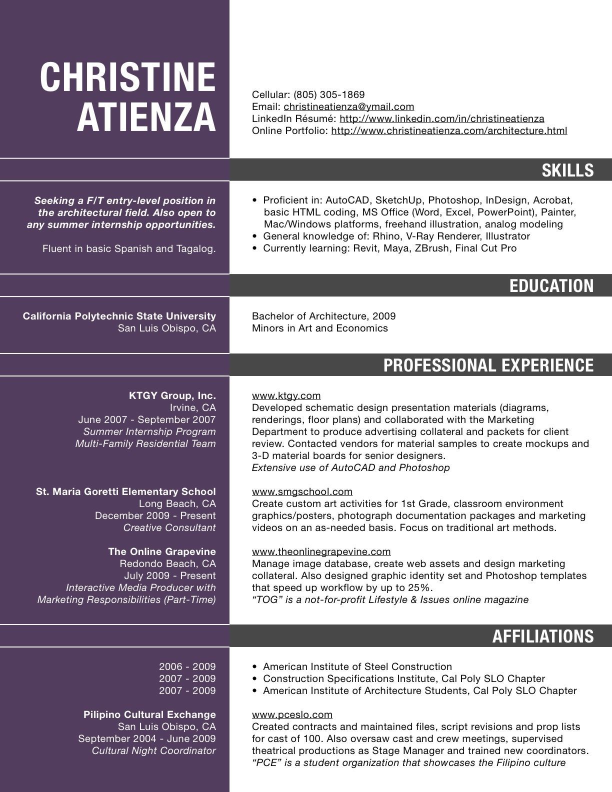 Architecture Resume Pdf Resume For Architects Professionals Architect Cv  Sample Doc